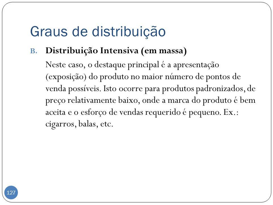 Graus de distribuição B. Distribuição Intensiva (em massa) Neste caso, o destaque principal é a apresentação (exposição) do produto no maior número de
