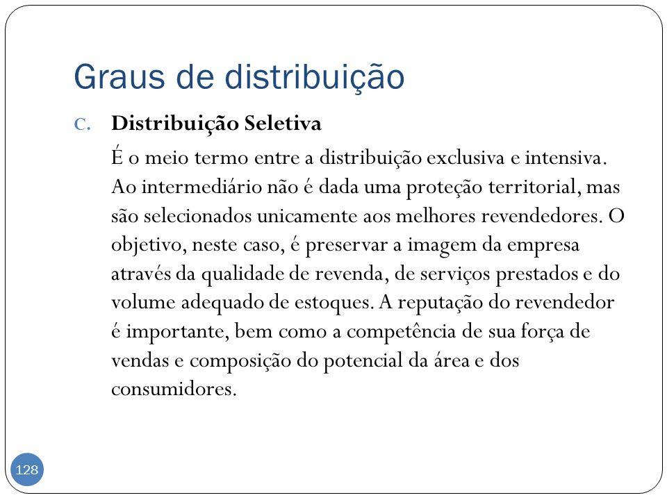 Graus de distribuição C. Distribuição Seletiva É o meio termo entre a distribuição exclusiva e intensiva. Ao intermediário não é dada uma proteção ter