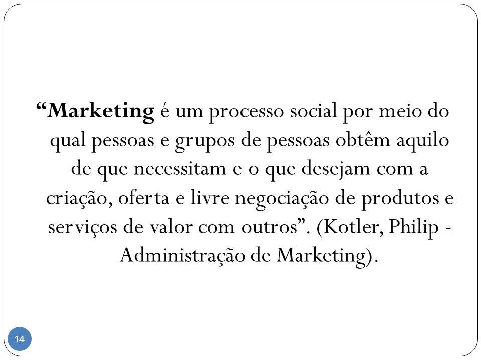 Marketing é um processo social por meio do qual pessoas e grupos de pessoas obtêm aquilo de que necessitam e o que desejam com a criação, oferta e liv