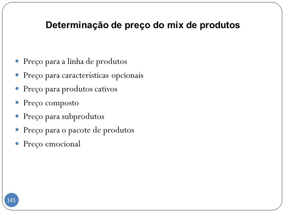 Determinação de preço do mix de produtos Preço para a linha de produtos Preço para características opcionais Preço para produtos cativos Preço compost