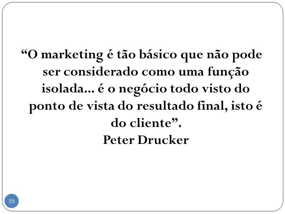 O marketing é tão básico que não pode ser considerado como uma função isolada... é o negócio todo visto do ponto de vista do resultado final, isto é d