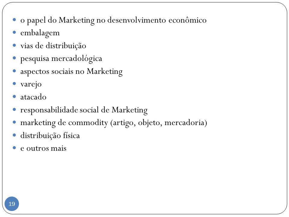 o papel do Marketing no desenvolvimento econômico embalagem vias de distribuição pesquisa mercadológica aspectos sociais no Marketing varejo atacado r