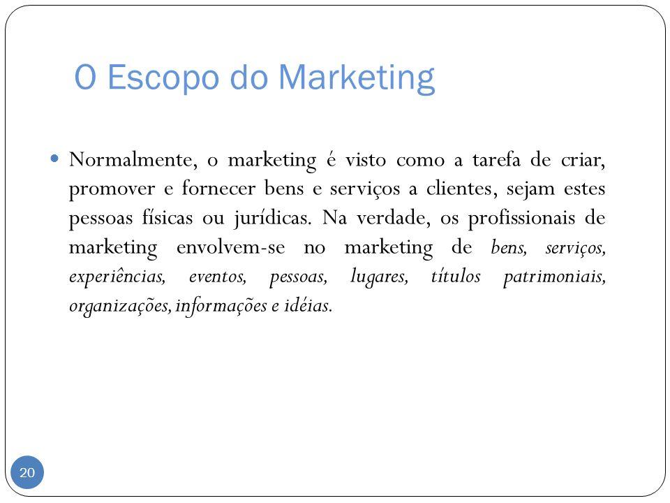 O Escopo do Marketing Normalmente, o marketing é visto como a tarefa de criar, promover e fornecer bens e serviços a clientes, sejam estes pessoas fís
