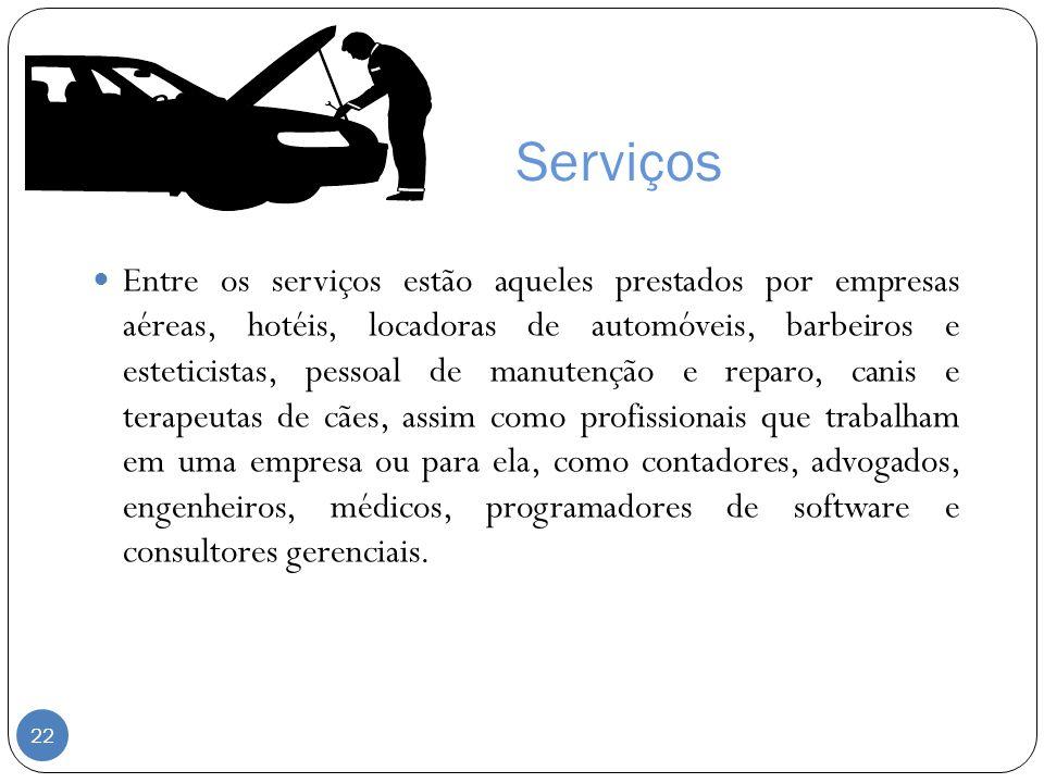 Serviços Entre os serviços estão aqueles prestados por empresas aéreas, hotéis, locadoras de automóveis, barbeiros e esteticistas, pessoal de manutenç