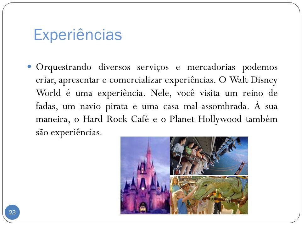Experiências Orquestrando diversos serviços e mercadorias podemos criar, apresentar e comercializar experiências. O Walt Disney World é uma experiênci