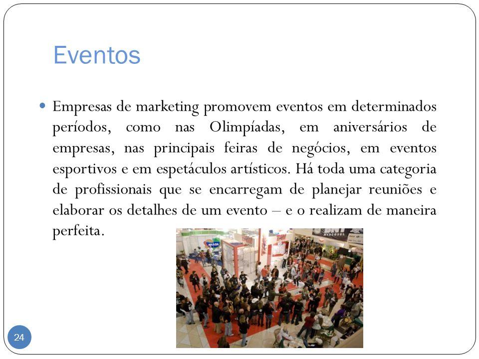 Eventos Empresas de marketing promovem eventos em determinados períodos, como nas Olimpíadas, em aniversários de empresas, nas principais feiras de ne