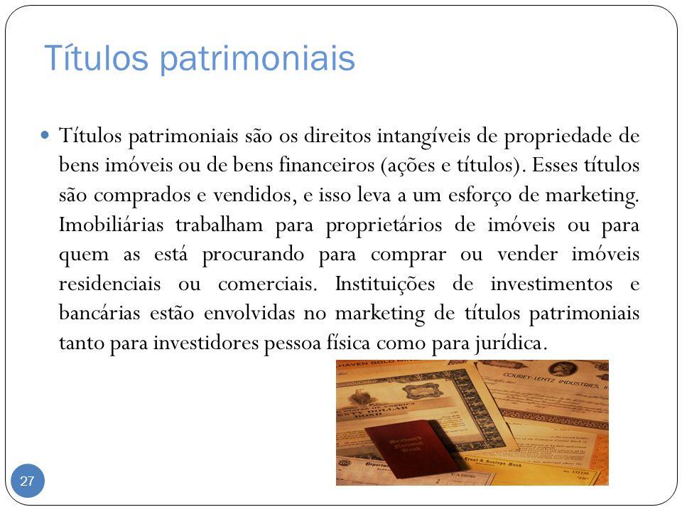 Títulos patrimoniais Títulos patrimoniais são os direitos intangíveis de propriedade de bens imóveis ou de bens financeiros (ações e títulos). Esses t