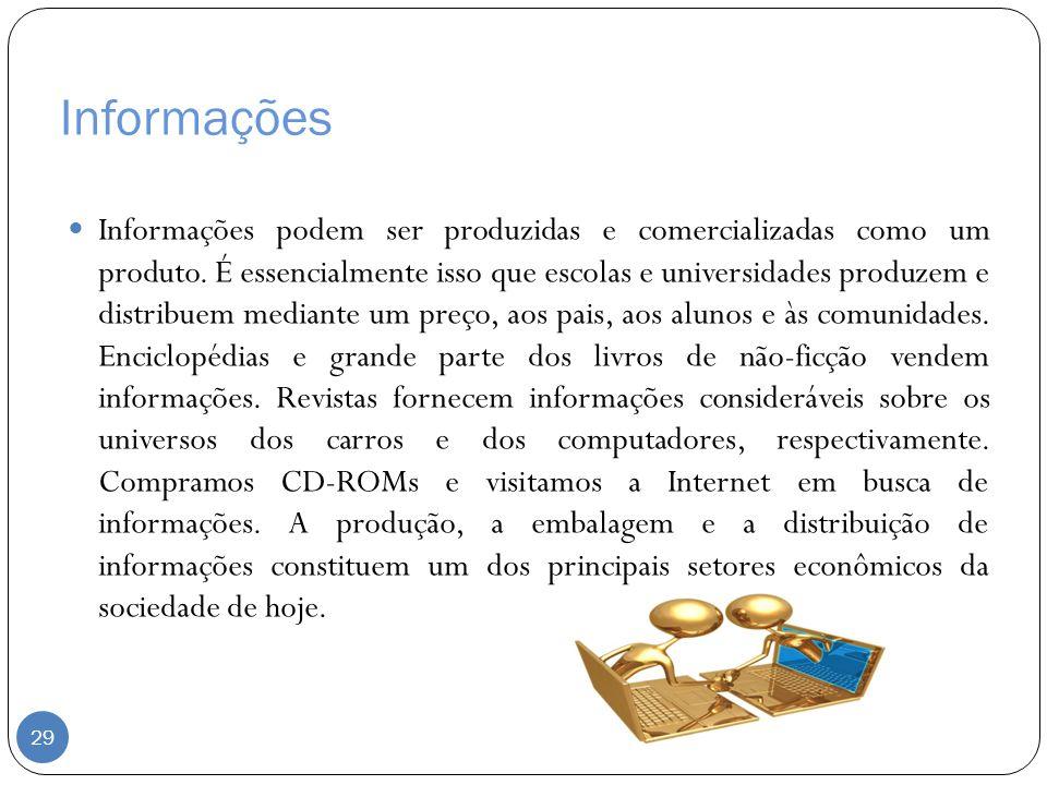 Informações Informações podem ser produzidas e comercializadas como um produto. É essencialmente isso que escolas e universidades produzem e distribue