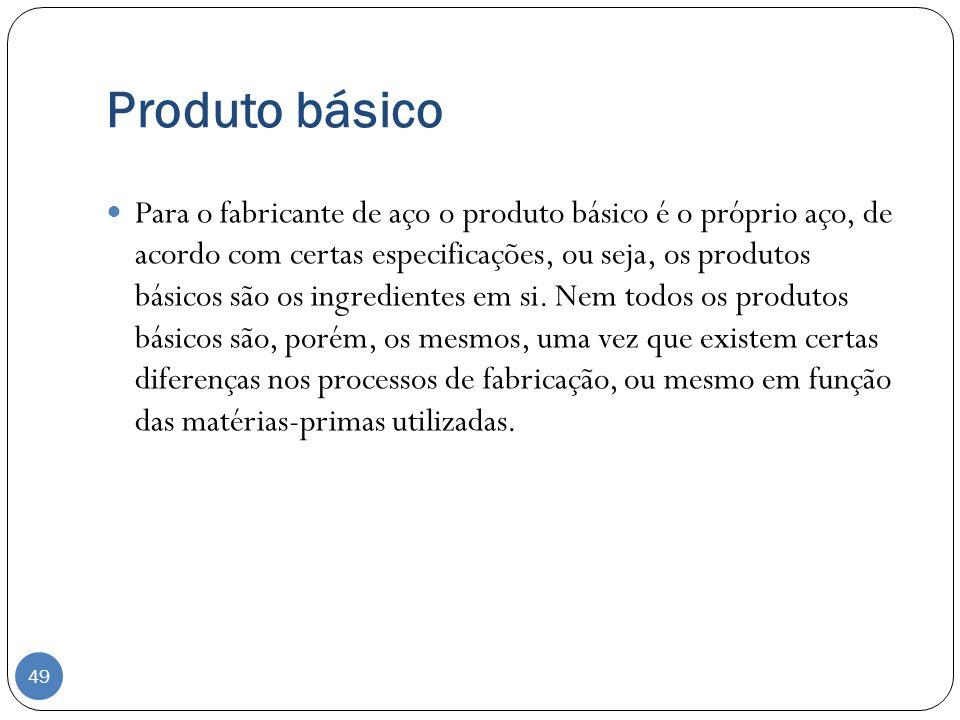 Produto básico Para o fabricante de aço o produto básico é o próprio aço, de acordo com certas especificações, ou seja, os produtos básicos são os ing