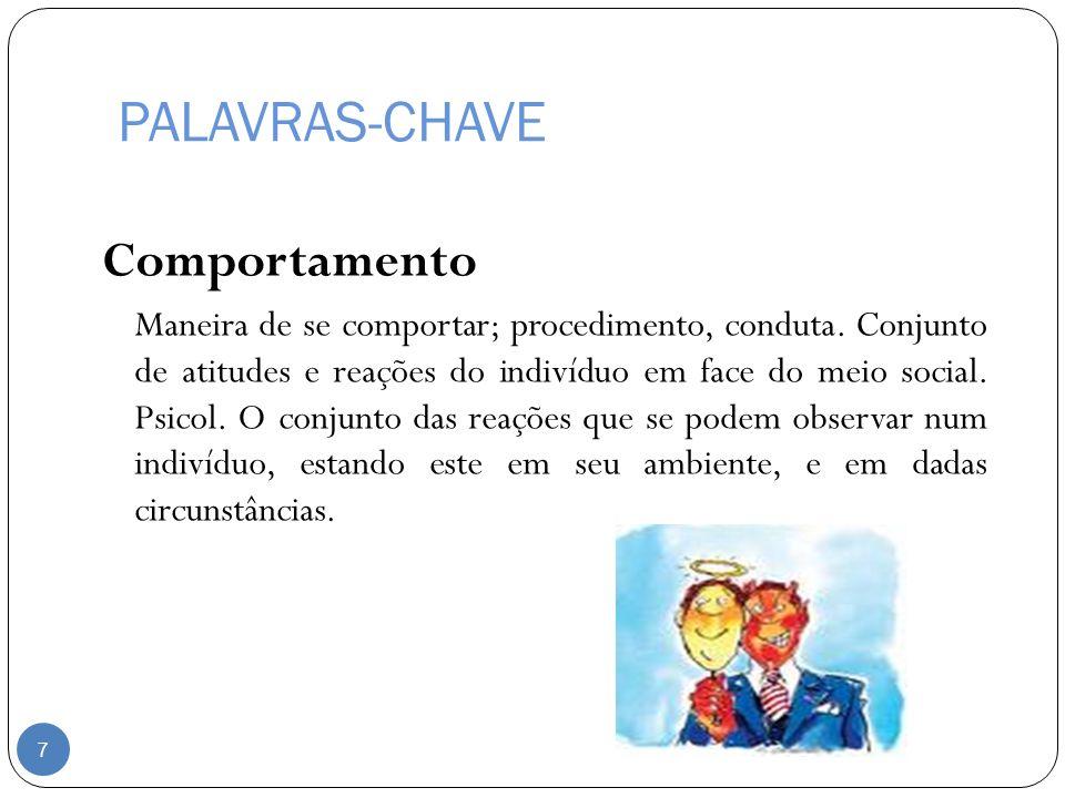 PALAVRAS-CHAVE Comportamento Maneira de se comportar; procedimento, conduta. Conjunto de atitudes e reações do indivíduo em face do meio social. Psico