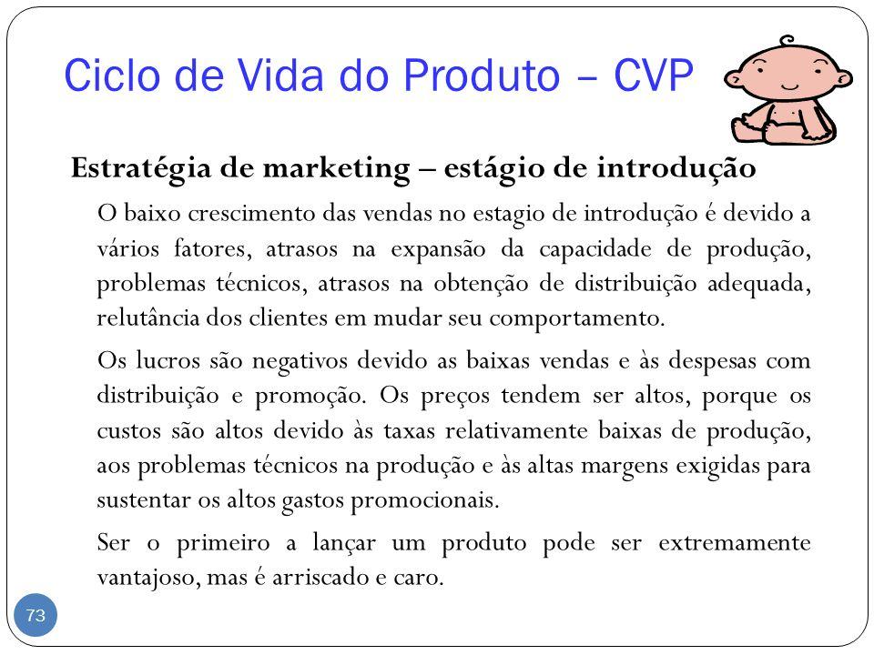 Ciclo de Vida do Produto – CVP Estratégia de marketing – estágio de introdução O baixo crescimento das vendas no estagio de introdução é devido a vári