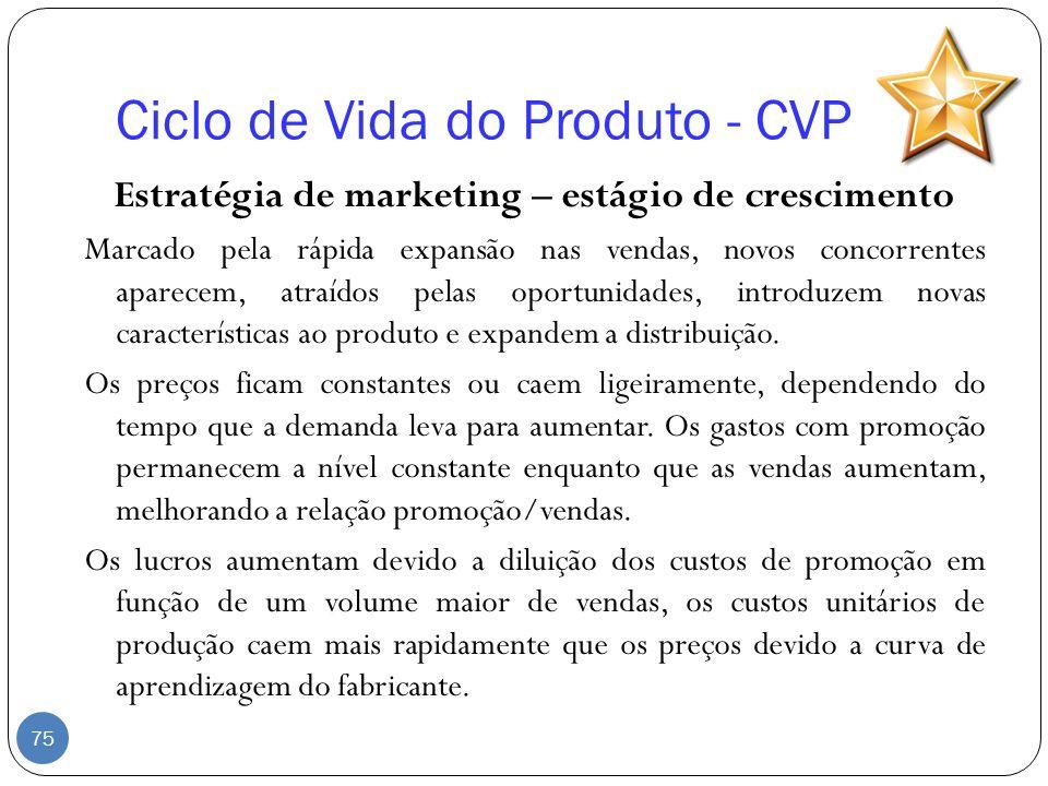 Ciclo de Vida do Produto - CVP Estratégia de marketing – estágio de crescimento Marcado pela rápida expansão nas vendas, novos concorrentes aparecem,
