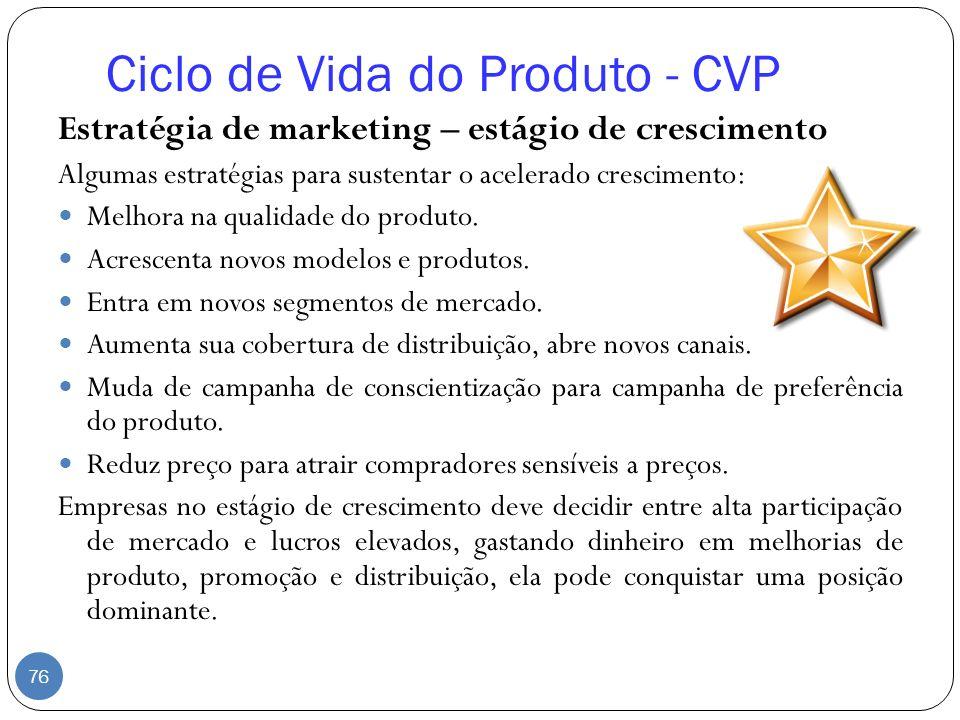 Estratégia de marketing – estágio de crescimento Algumas estratégias para sustentar o acelerado crescimento: Melhora na qualidade do produto. Acrescen