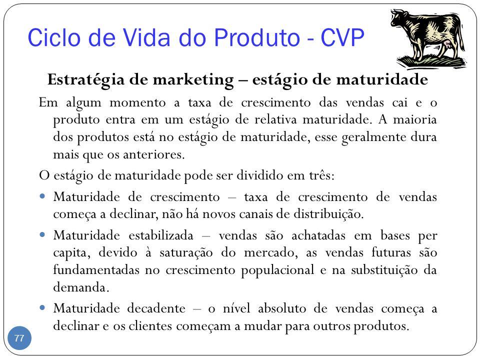Ciclo de Vida do Produto - CVP Estratégia de marketing – estágio de maturidade Em algum momento a taxa de crescimento das vendas cai e o produto entra