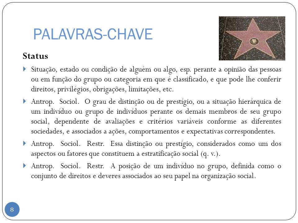 PALAVRAS-CHAVE Status Situação, estado ou condição de alguém ou algo, esp. perante a opinião das pessoas ou em função do grupo ou categoria em que é c