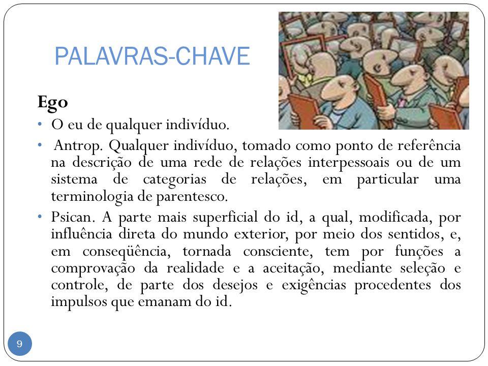 PALAVRAS-CHAVE Ego O eu de qualquer indivíduo. Antrop. Qualquer indivíduo, tomado como ponto de referência na descrição de uma rede de relações interp