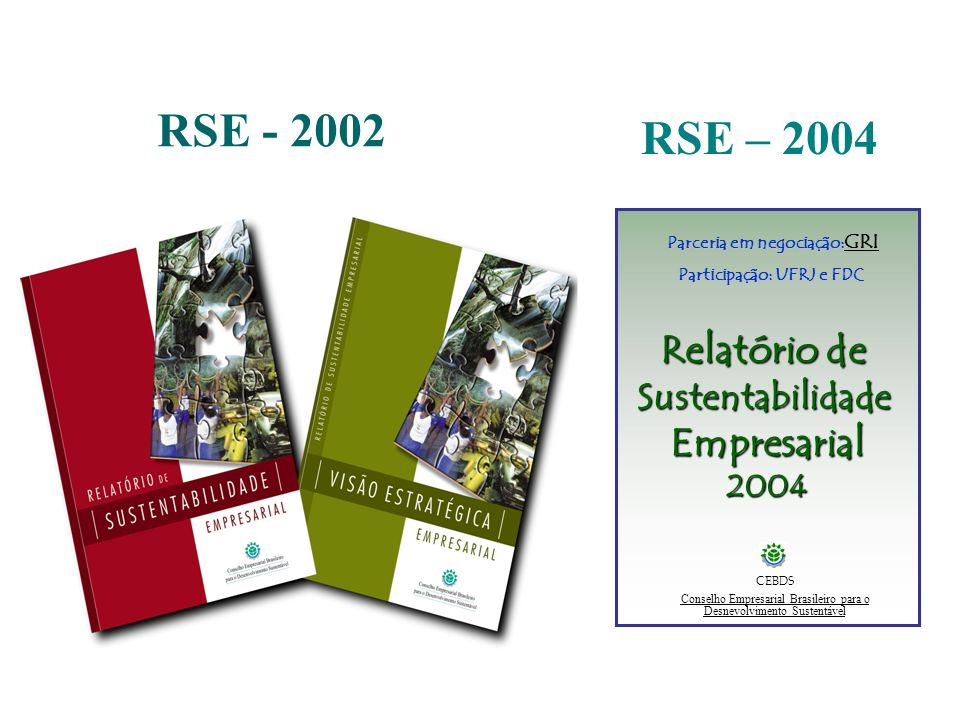 RSE - 2002 RSE – 2004 Relatório de SustentabilidadeEmpresarial2004 CEBDS Conselho Empresarial Brasileiro para o Desnevolvimento Sustentável Parceria e