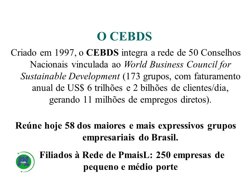 Criado em 1997, o CEBDS integra a rede de 50 Conselhos Nacionais vinculada ao World Business Council for Sustainable Development (173 grupos, com fatu