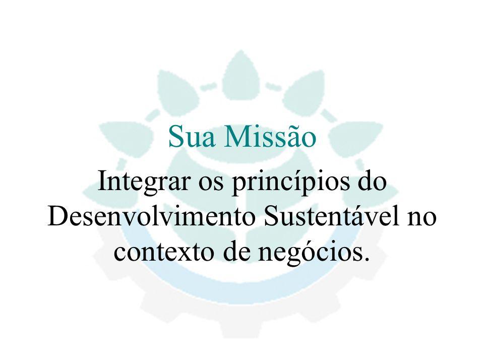Sua Missão Integrar os princípios do Desenvolvimento Sustentável no contexto de negócios.