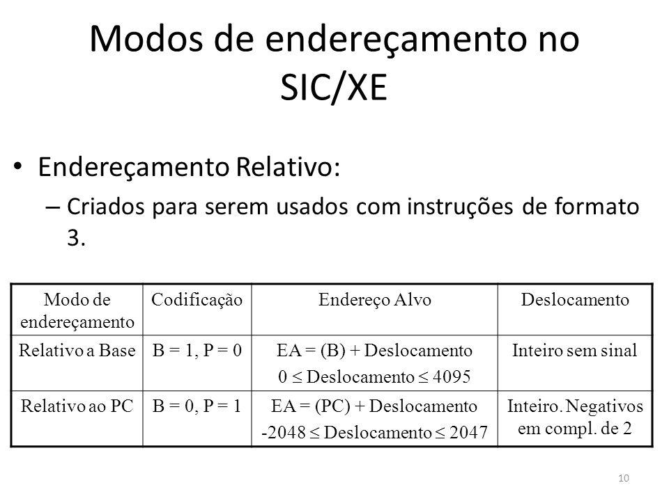Modos de endereçamento no SIC/XE Endereçamento Relativo: – Criados para serem usados com instruções de formato 3. Modo de endereçamento CodificaçãoEnd