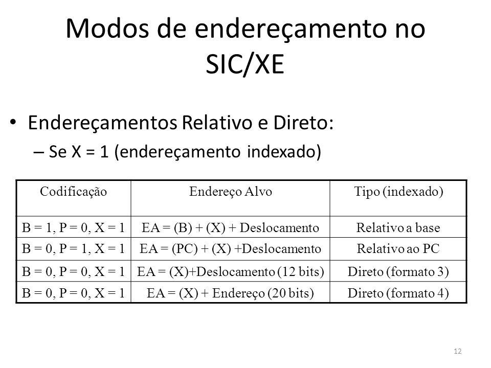 Modos de endereçamento no SIC/XE Endereçamentos Relativo e Direto: – Se X = 1 (endereçamento indexado) CodificaçãoEndereço AlvoTipo (indexado) B = 1,