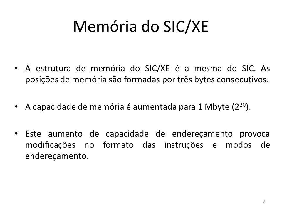 Memória do SIC/XE A estrutura de memória do SIC/XE é a mesma do SIC. As posições de memória são formadas por três bytes consecutivos. A capacidade de
