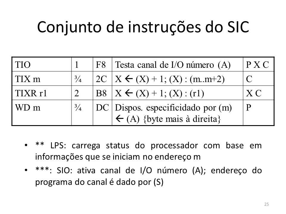 Conjunto de instruções do SIC ** LPS: carrega status do processador com base em informações que se iniciam no endereço m ***: SIO: ativa canal de I/O