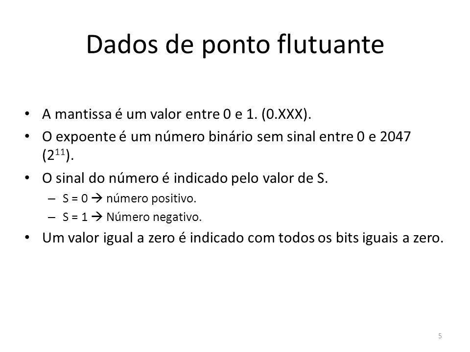 Dados de ponto flutuante A mantissa é um valor entre 0 e 1. (0.XXX). O expoente é um número binário sem sinal entre 0 e 2047 (2 11 ). O sinal do númer