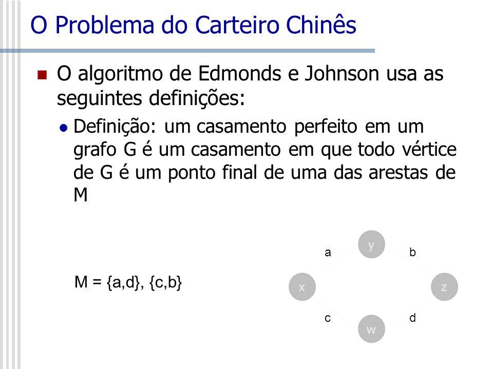 O Problema do Carteiro Chinês O algoritmo de Edmonds e Johnson usa as seguintes definições: Definição: um casamento perfeito em um grafo G é um casame