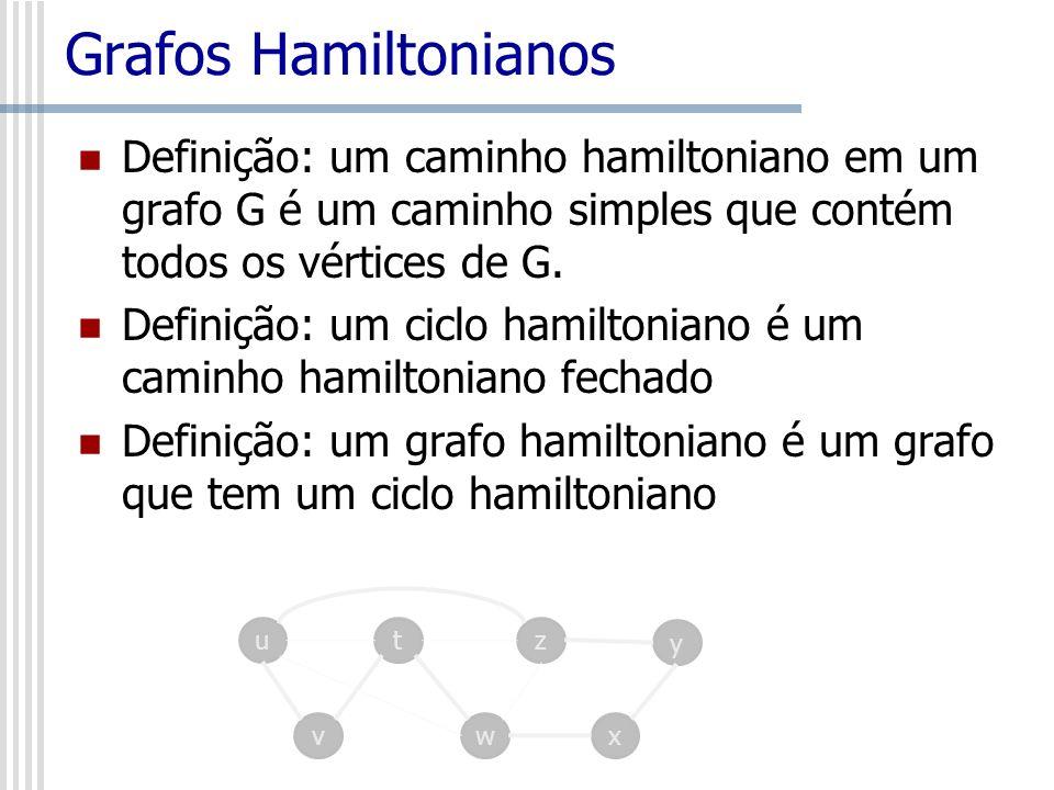 Grafos Hamiltonianos Definição: um caminho hamiltoniano em um grafo G é um caminho simples que contém todos os vértices de G. Definição: um ciclo hami