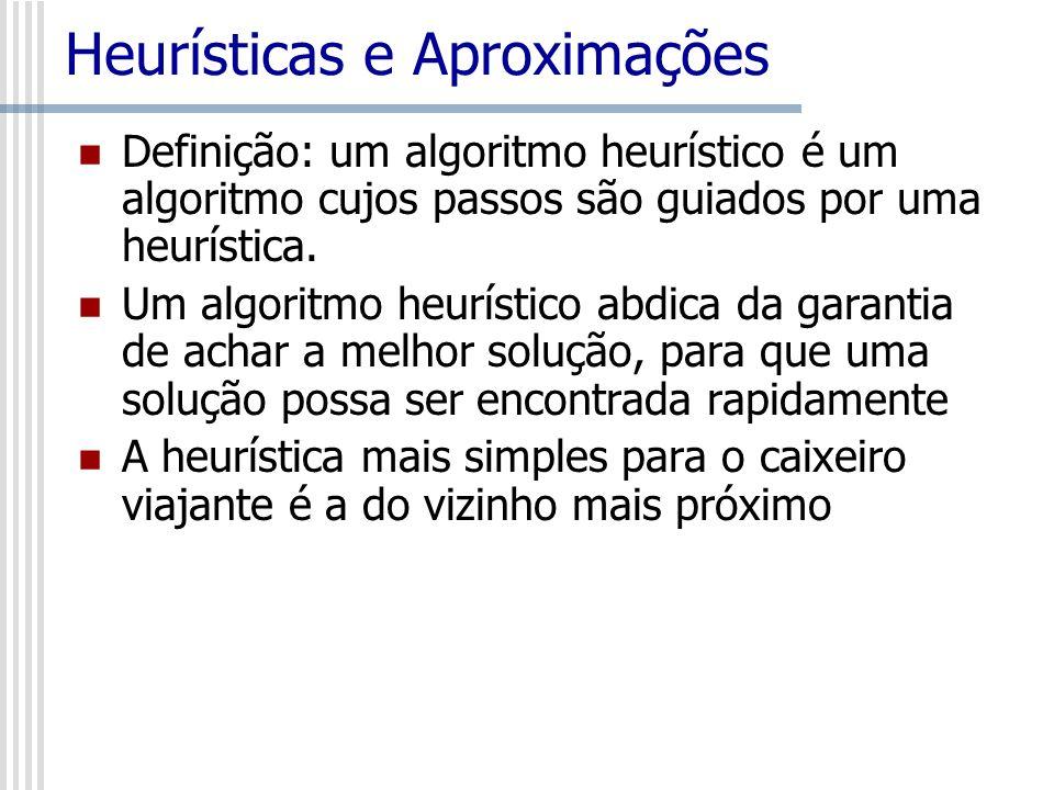 Heurísticas e Aproximações Definição: um algoritmo heurístico é um algoritmo cujos passos são guiados por uma heurística. Um algoritmo heurístico abdi