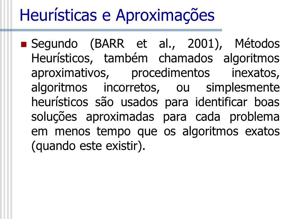 Heurísticas e Aproximações Segundo (BARR et al., 2001), Métodos Heurísticos, também chamados algoritmos aproximativos, procedimentos inexatos, algorit