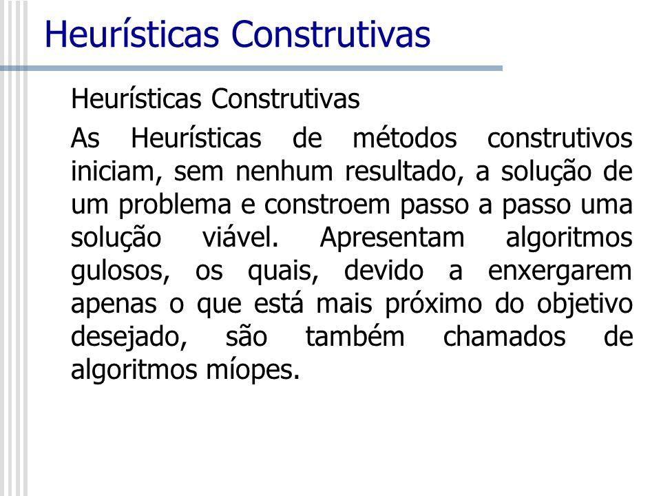 Heurísticas Construtivas As Heurísticas de métodos construtivos iniciam, sem nenhum resultado, a solução de um problema e constroem passo a passo uma