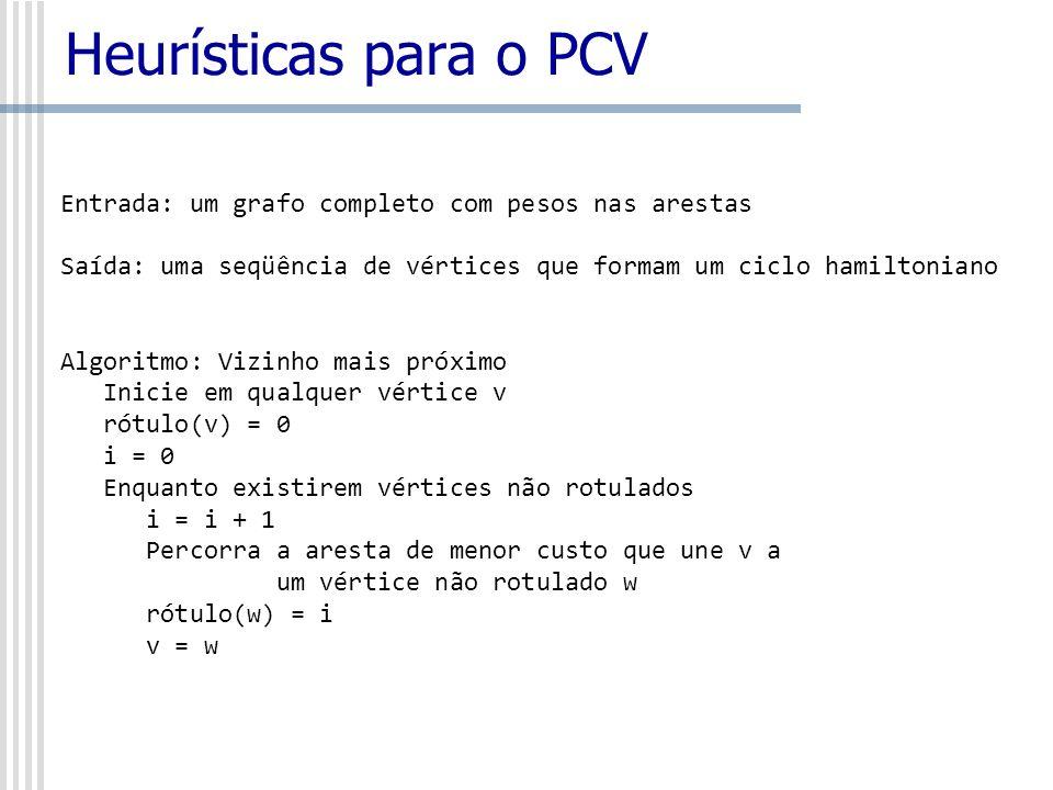 Heurísticas para o PCV Entrada: um grafo completo com pesos nas arestas Saída: uma seqüência de vértices que formam um ciclo hamiltoniano Algoritmo: V