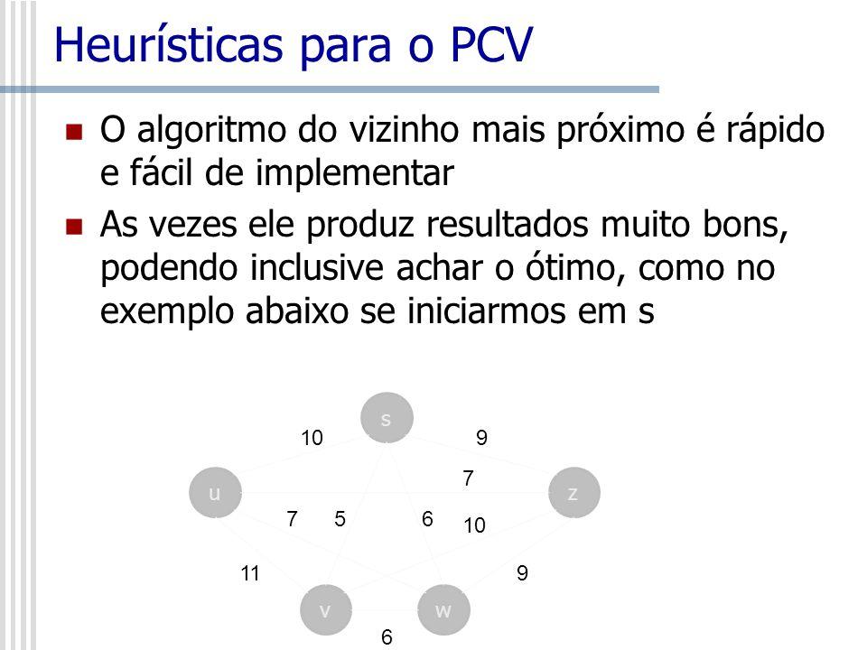 Heurísticas para o PCV O algoritmo do vizinho mais próximo é rápido e fácil de implementar As vezes ele produz resultados muito bons, podendo inclusiv