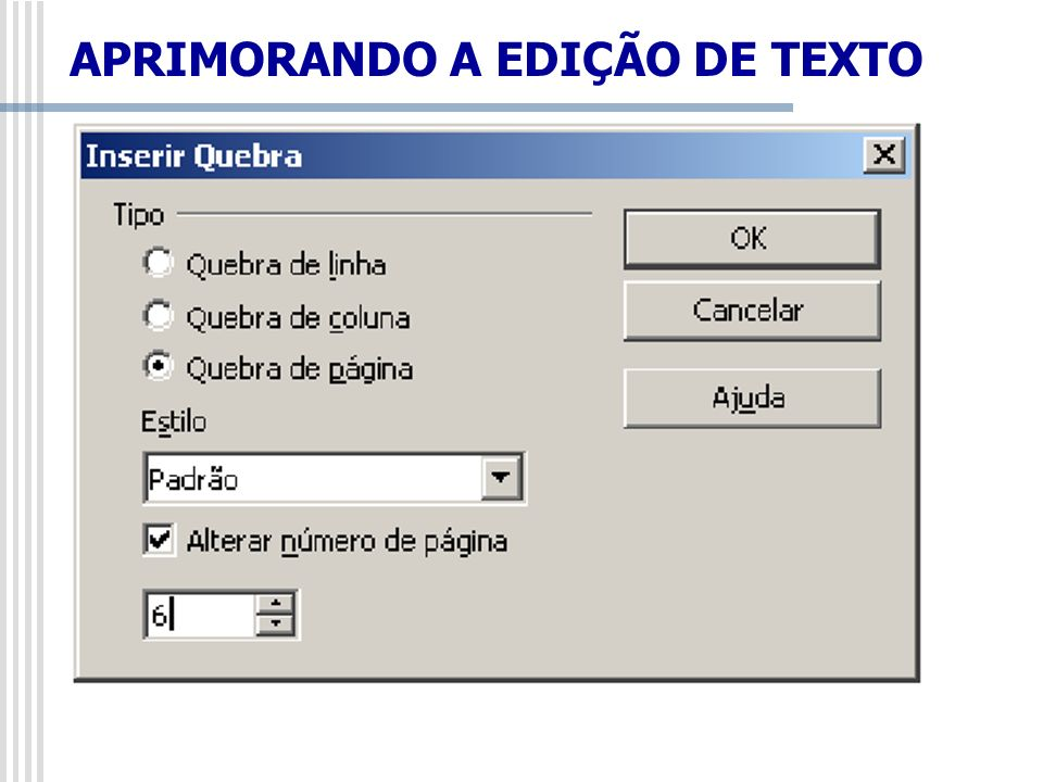 Inserir/Seção Insere uma seção de texto na posição do cursor.