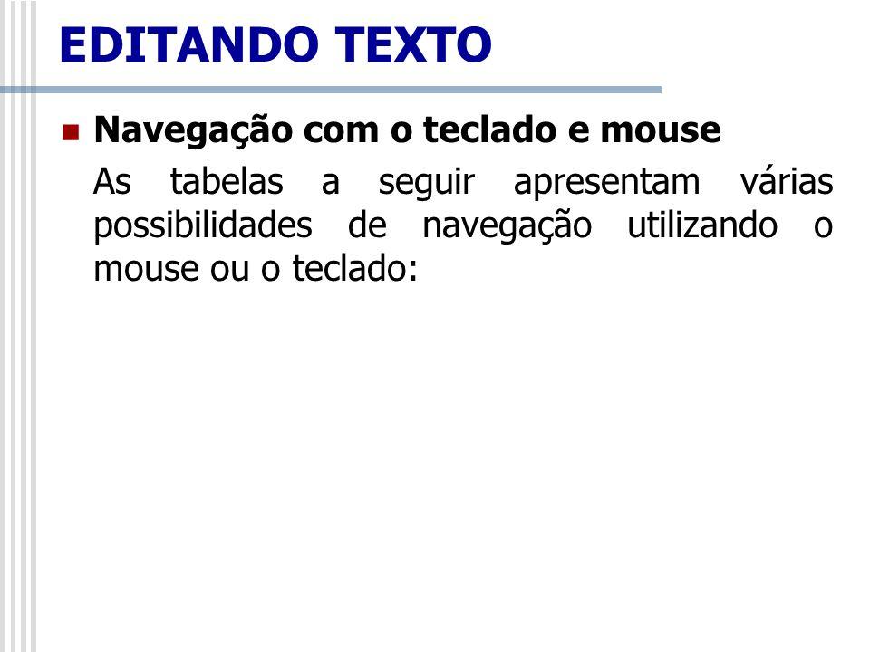 Navegação com o teclado e mouse As tabelas a seguir apresentam várias possibilidades de navegação utilizando o mouse ou o teclado: EDITANDO TEXTO