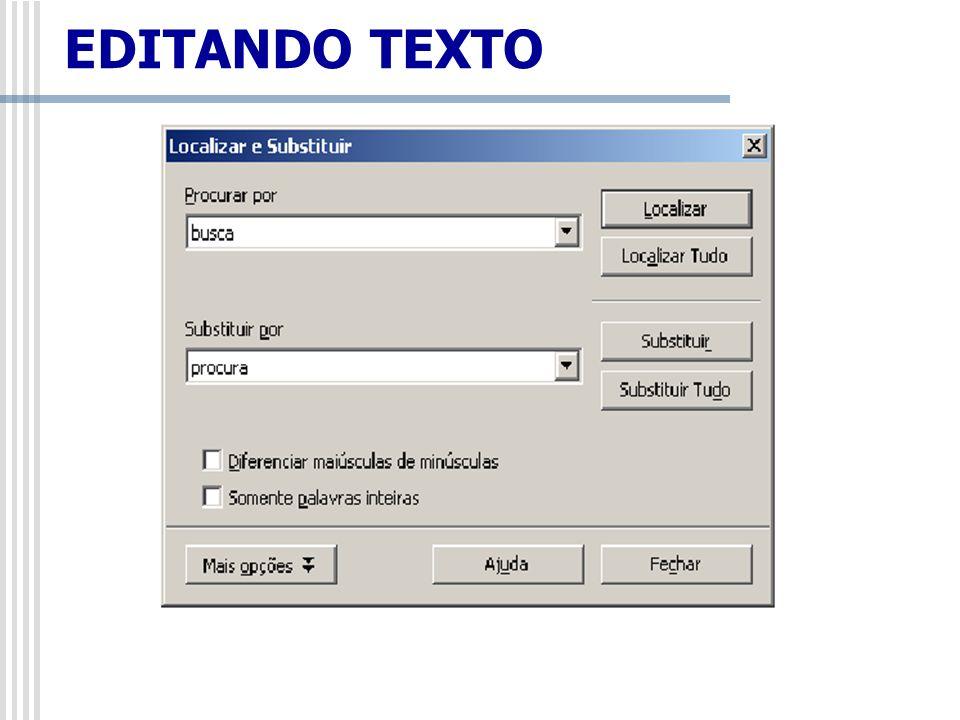 Procurar por: insira o texto que deseja procurar ou selecione uma pesquisa anterior na lista.