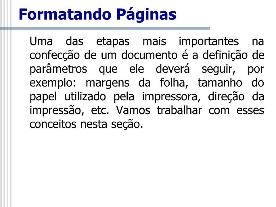 Formatando Páginas Uma das etapas mais importantes na confecção de um documento é a definição de parâmetros que ele deverá seguir, por exemplo: margen