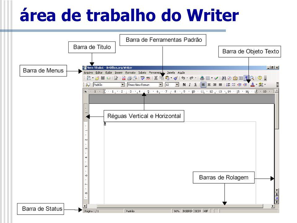 Barra de Títulos É a barra que aparece no alto da janela do Writer.