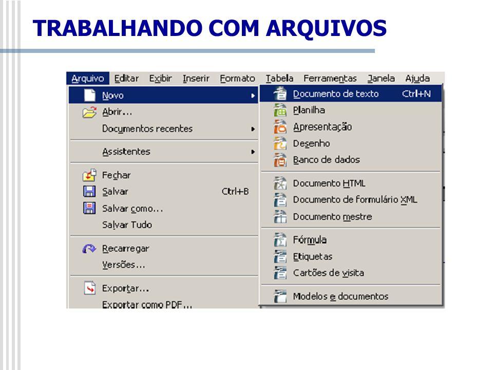Arquivo/Abrir Caso se deseje editar um documento já iniciado e gravado anteriormente, deve-se selecionar o menu Arquivo/Abrir ou pressionar o respectivo botão na Barra de Funções.