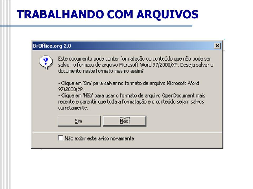 Se a opção Sim for selecionada, o arquivo será salvo no formato do Microsoft Word.