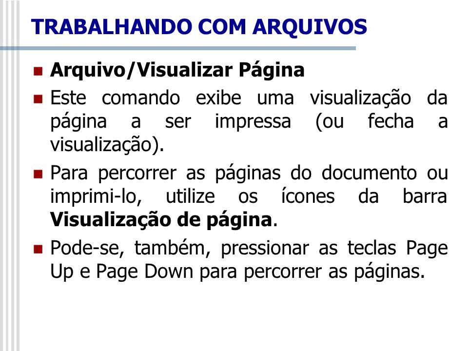 TRABALHANDO COM ARQUIVOS Arquivo/Visualizar Página Este comando exibe uma visualização da página a ser impressa (ou fecha a visualização). Para percor