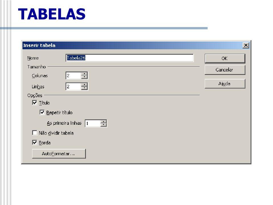 Obs.: O usuário também pode inserir uma tabela clicando no ícone tabela, localizado ao lado do ícone de Hiperlink na Barra de Ferramentas Padrão e arrastando o mouse para selecionar o número de linhas e colunas a serem criadas.
