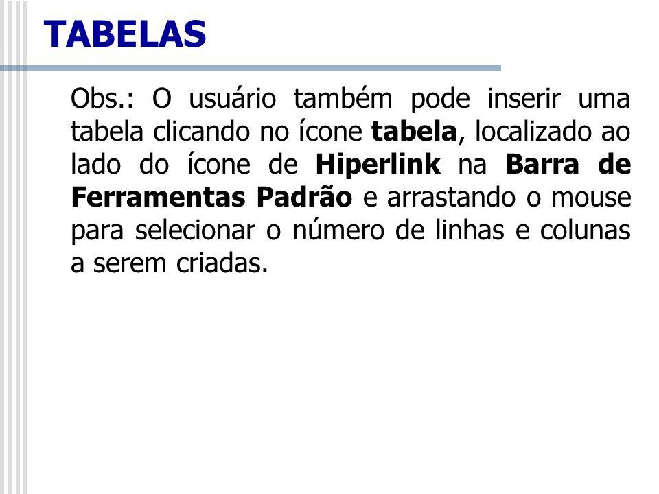 Obs.: O usuário também pode inserir uma tabela clicando no ícone tabela, localizado ao lado do ícone de Hiperlink na Barra de Ferramentas Padrão e arr