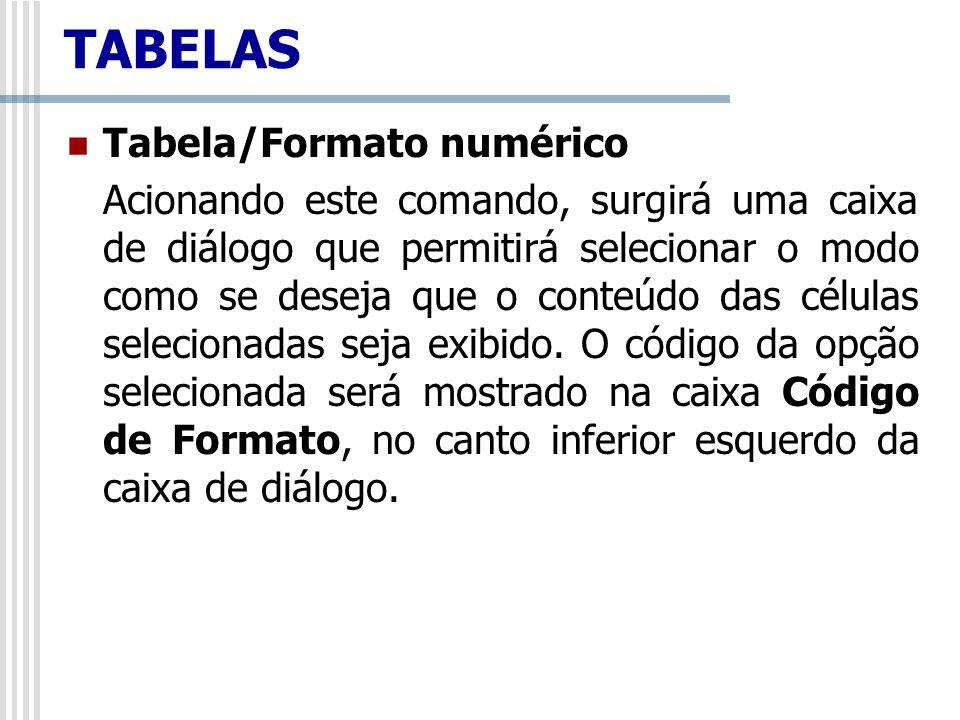 TABELAS Tabela/Formato numérico Acionando este comando, surgirá uma caixa de diálogo que permitirá selecionar o modo como se deseja que o conteúdo das