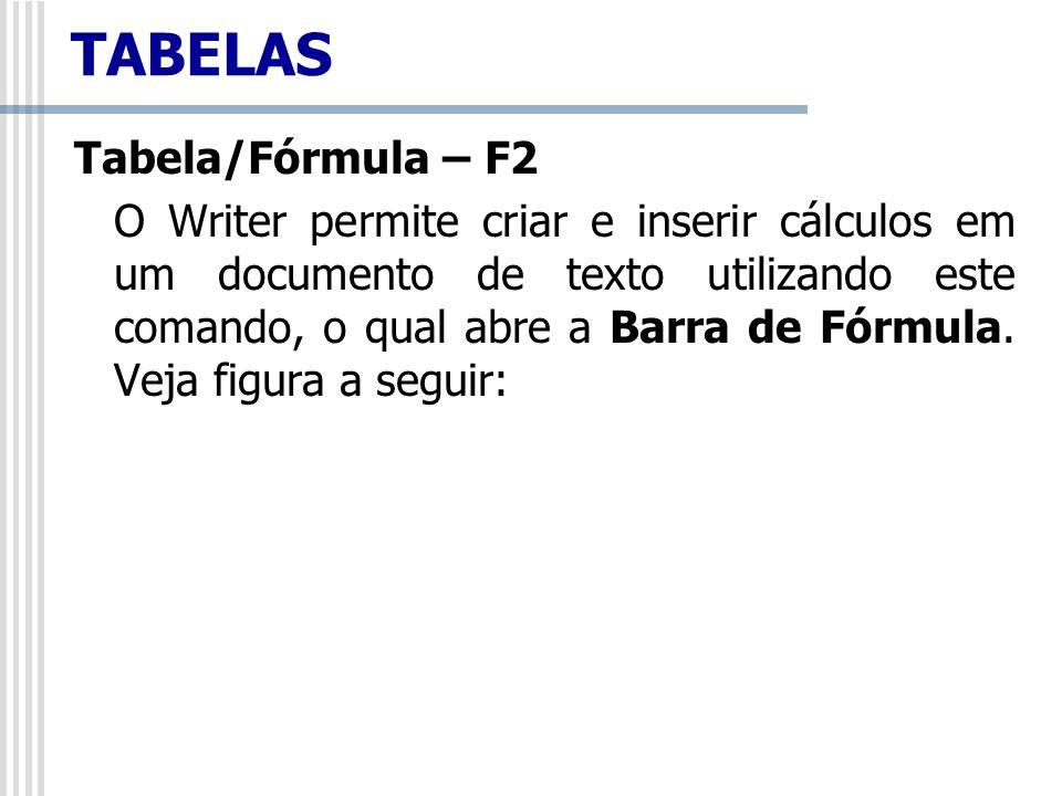 Tabela/Fórmula – F2 O Writer permite criar e inserir cálculos em um documento de texto utilizando este comando, o qual abre a Barra de Fórmula. Veja f