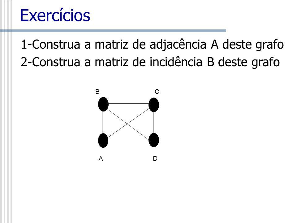 1-Construa a matriz de adjacência A deste grafo 2-Construa a matriz de incidência B deste grafo Exercícios BCBC A D