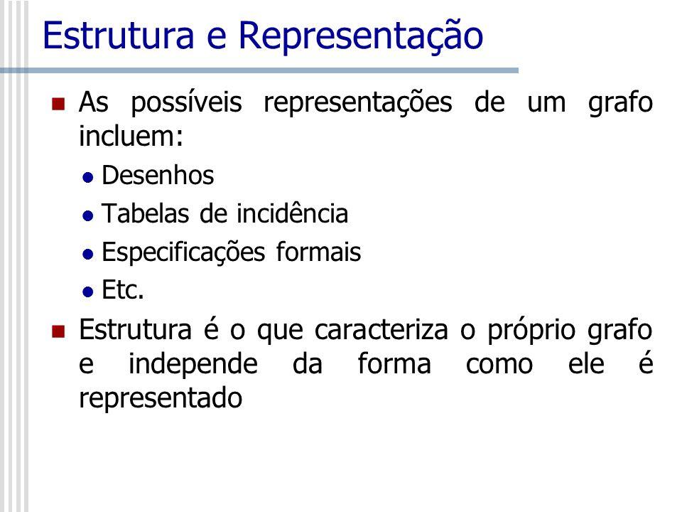 Estrutura e Representação As possíveis representações de um grafo incluem: Desenhos Tabelas de incidência Especificações formais Etc. Estrutura é o qu