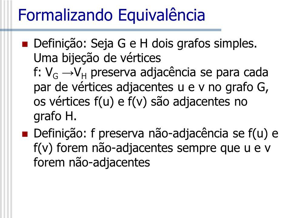 Formalizando Equivalência Definição: Seja G e H dois grafos simples. Uma bijeção de vértices f: V G V H preserva adjacência se para cada par de vértic